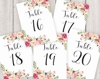 Wedding Table Numbers Printable, 5X7 Table Numbers Wedding #16-20, Instant Download, Table Numbers, Printable Table Numbers, Vintage, B100