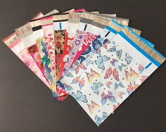50 Piece Assortment 6x9 Designer Poly Mailers 5 Each Roses Butterflies Little Red Flowers Hibiscus Roses Paisley Shipping Bags Poly Mailers