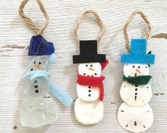Coastal and Nautical Christmas Sea Glass Ornaments