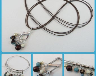 Knitting Stitch Marker Necklace Bracelet or Clip Snag Free Stitch Markers Set of 6 Turquoise and Brown
