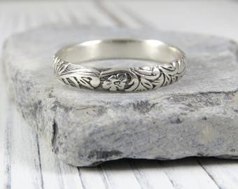 Sterling Silver Floral Ring, Thumb Ring, Sterling Silver Wedding Ring, Engraved Stacking Ring, Antique Ring, Wedding Band, Floral Design