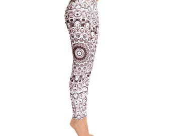 Mid Rise Yoga Leggings - Boho Yoga Pants, Brown Mandala Yoga Tights, Printed Leggings, Custom Leggings, Womens Stretch Pants