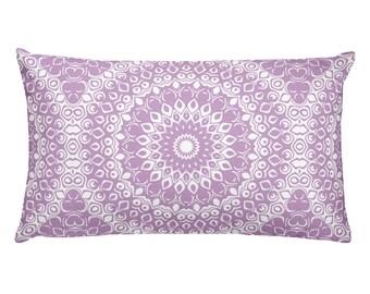 Lilac Pillow, Decorative Throw Pillow, 20x12 Lumbar Pillow, Lavender and White Mandala Design Rectangle Cushion