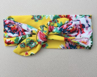 One Cute Floral Newborn, Toddler, Kids Knotted Cotton Headband / Hairband in Yellow Floral