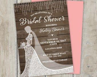 Bridal Shower Dress Invitation, Bridal Shower Invitation, Dress Bridal Shower Invitation, Wedding Dress Invitation, Wedding Invitation Set