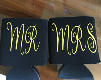 Mr and mrs wedding can coolers a set