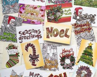 """Coloring Christmas Cards   20 DIY printable Christmas Cards to color in!   2 sizes of coloring cards: 5x7"""" and 8.5x5.5"""" Printable PDF"""