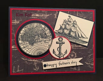 Father's Day Card Ship Pop Up 3D Stampin Up The Open Sea Anchor Maps Dad Man OOAK Mixed Media Handmade