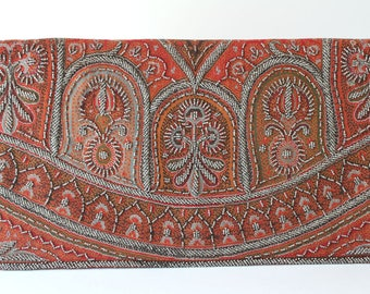Vintage French Paisley Evening Bag, Clutch, Beaded Purse
