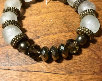 White African Bead Bracelet with gold accent