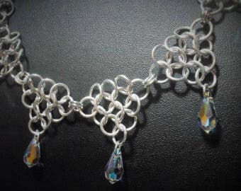 Sterling Silver and Swarovski Crystal Chainmaille Collar