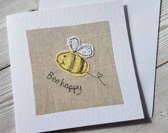 Original textile card, greeting card, Bee card, Bee Happy card, textile artwork, handmade card, blank card, unique, pretty