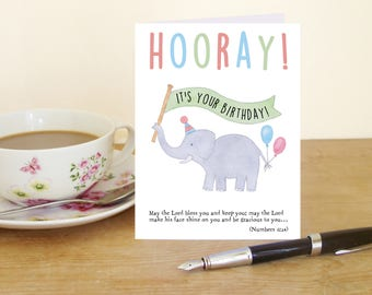 """Hooray, it's your Birthday! A6 card with elephant and Bible verse """"May the Lord bless you and keep you..."""" (Numbers 6:24-25)"""