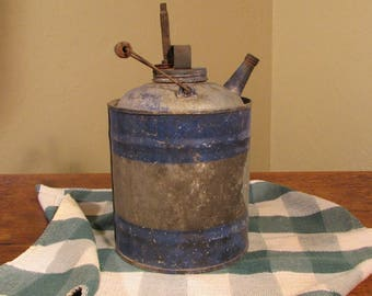 Vintage Blue Gas Can, Galvanized Tin Gasoline Can with Wooden Handle, Johns Manville Rustic Blue Gas Can, Farm Gas Can, Man Cave Décor