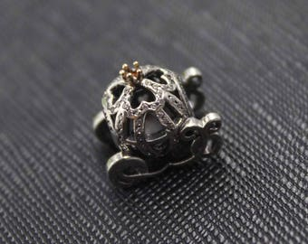 New Authentic Pandora Charm Bead 14K Gold Cinderella's Pumpkin Coach 791573CZ