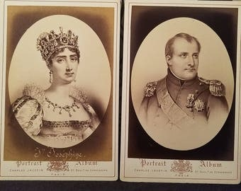 Two Antique Cabinet Cards Marie Josèphe Rose Tascher de La Pagerie & Napoleon I