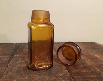Antique Glass Medicine Jar with Glass-on-Glass Lid, 19th Century Amber Glass Apothecary Jar