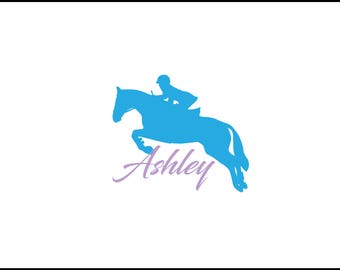 Jumping horse vinyl car decal, english horse yeti decal, cowgirl decal, hunter jumper decal, equine, equestrian, eventing horse, jumping