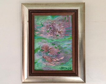 Small Wooden frame Painting, Tiny Art in Geen Pink Mint Abstract Original Acrilic art, Metallic framed Art #10