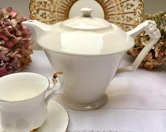 Classic Elegant Ivory Vintage Teapot, Perfect