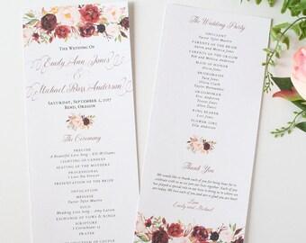 Fall Wedding Programs - Burgundy & Blush - Wedding Programs - Rustic Burgundy Script Collection