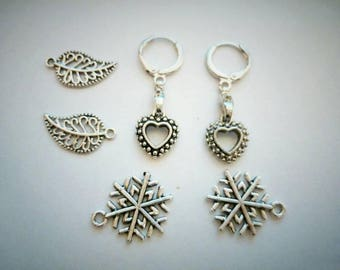 Earrings with changeable charms. Womens earrings.Tibetan Silver earrings.
