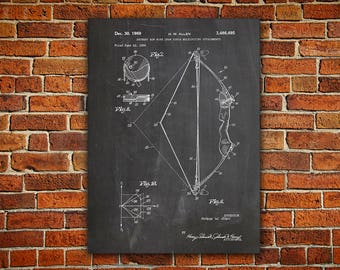 Recurve Bow Canvas painting, Recurve Bow, Bow And Arrow, Hunter Art Poster,Hunter Wall Decor,Bow Blueprint,Recurve Bow Print,Patent gift
