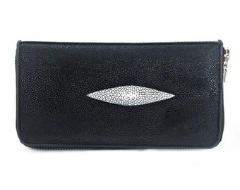 Stingray Skin Leather Zip Around Clutch Wallet Purse Black(Premium Grade)