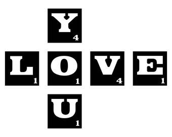 Scrabble Tile Love You SVG Cutting File