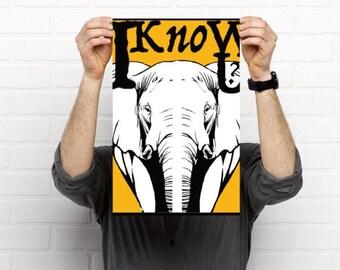 Digital art print of elephant art, elephant memory, elephant I know you, elephant graphic design, do I know you,