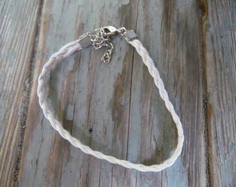 White Leather Bracelet