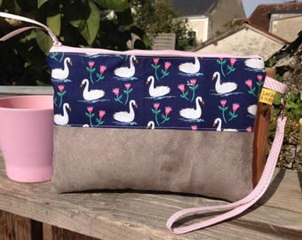 "Flat clutch ""Swans"" / hand bag and strap"