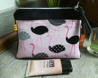 """Black and pink ostrich"" suede pouch"