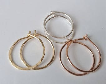 "1/2"" Small Hoop Earrings, Silver, Gold or Rose Gold Hoops, Tiny Hoop Earrings, Minimal Earrings, Everyday Earrings."