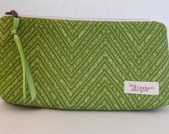 Green chevron print cotton washable cosmetic pouch