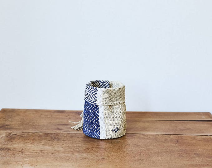 Small Handoven Hemp Basket in Blue, White & Natural
