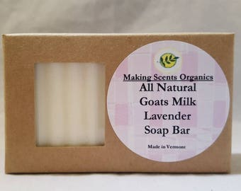 Handmade Lavender All Natural Goats Milk Extra Moisturizing Soap Bar Made in VT