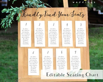 Editable calligraphy seating chart, editable white table chart, editable wedding seating plan, editable seating chart, table chart template
