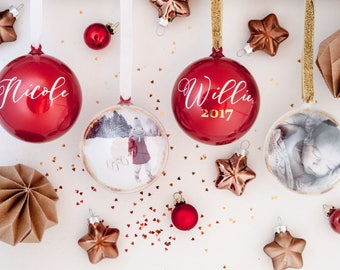 Personalized photo Christmas ornaments, Personalized Christmas gifts, Photo  baubles, Modern Christmas ornaments,