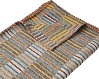 Wool Blanket   Birthday Gift   Decorative Designer Throw   Golden and Green Earthtones   Sofa Cover