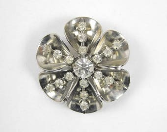 Vintage Unsigned Silver Tone and Clear Rhinestone Flower Brooch Pin Easter Mothers Day Spring Summer Lapel Jewelry