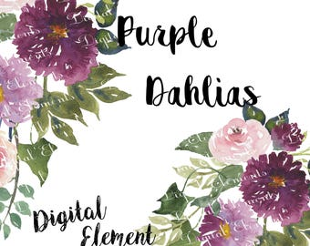 Watercolor Clip-art, Purple Dahlias Clip-art, Purple Florals, Pink Shabby Roses, Watercolor Floral Clip-art. No. WC52