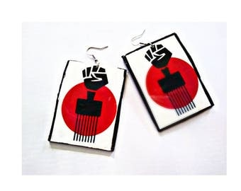 Afro pick fist earrings  African  earrings