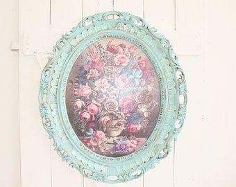 Image Shabby Chic frame flowers picture gold turquoise unique