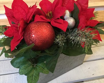 Christmas Centerpiece, Christmas Floral, Poinsettia Centerpiece, Rustic Floral Arrangement, Tin Container Arrangement