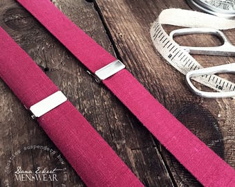 suspenders in sangria linen {adult}