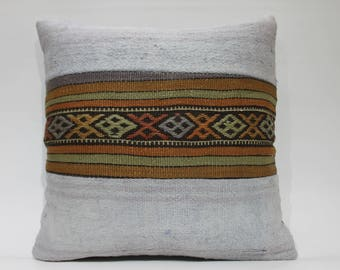 decorative pillow white kilim pillow case Embroidered Pillow White Kilim Pillow 20x20 Kilim Pillow Cover 50cmx50cm Cushion Cover 1418