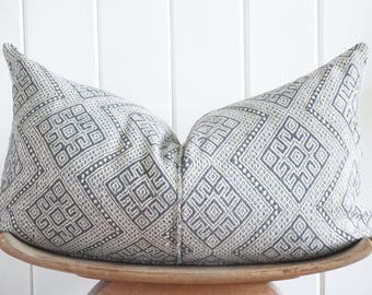 Chinese Embroidered Grey Lumbar Pillow Cover Faded Vintage Tribal with 100% Belgian Linen backing Exposed Gold Zipper
