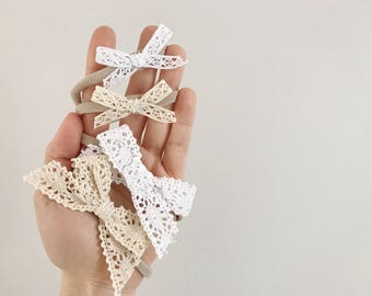 A headband for baby / child nylon - cotton - your choice of color and style lace bow