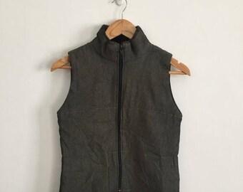 """25% DROP GOMME Zipper Sleeveless Top Vest Yohji Yamamoto armpit 17""""x24""""Rare Comme des Garcons Junya Watanabe Issey Miyake Kansai Yamamoto Ke"""
